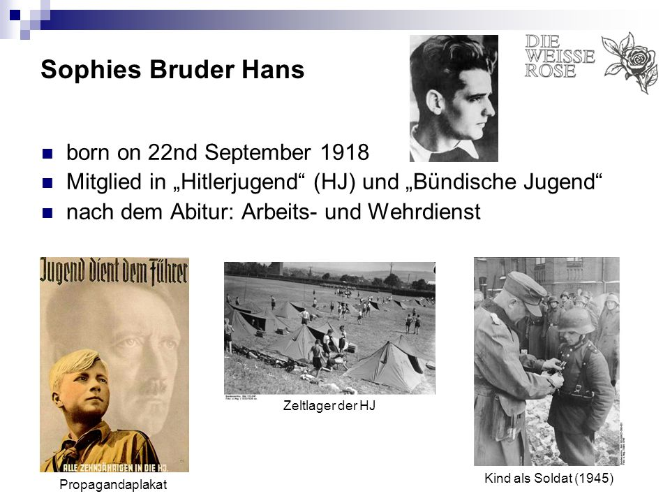 Sophies Bruder Hans born on 22nd September 1918