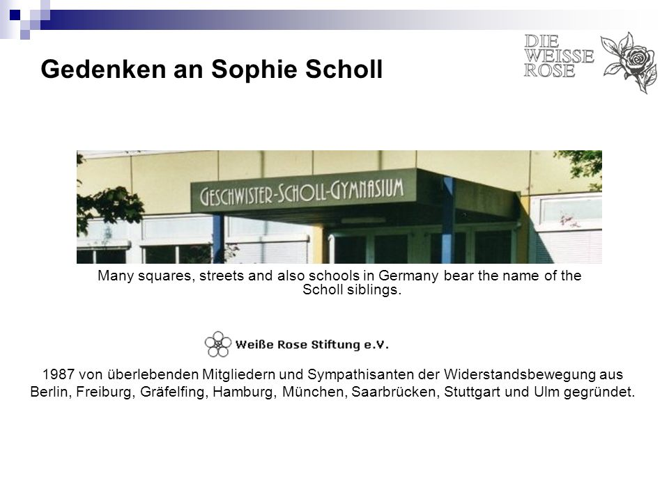 Gedenken an Sophie Scholl