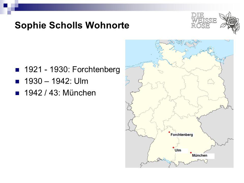 Sophie Scholls Wohnorte