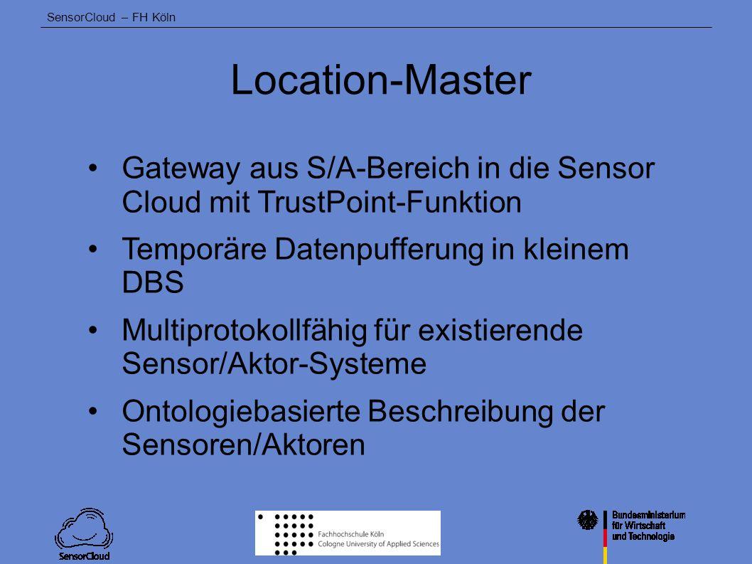 Location-Master Gateway aus S/A-Bereich in die Sensor Cloud mit TrustPoint-Funktion. Temporäre Datenpufferung in kleinem DBS.