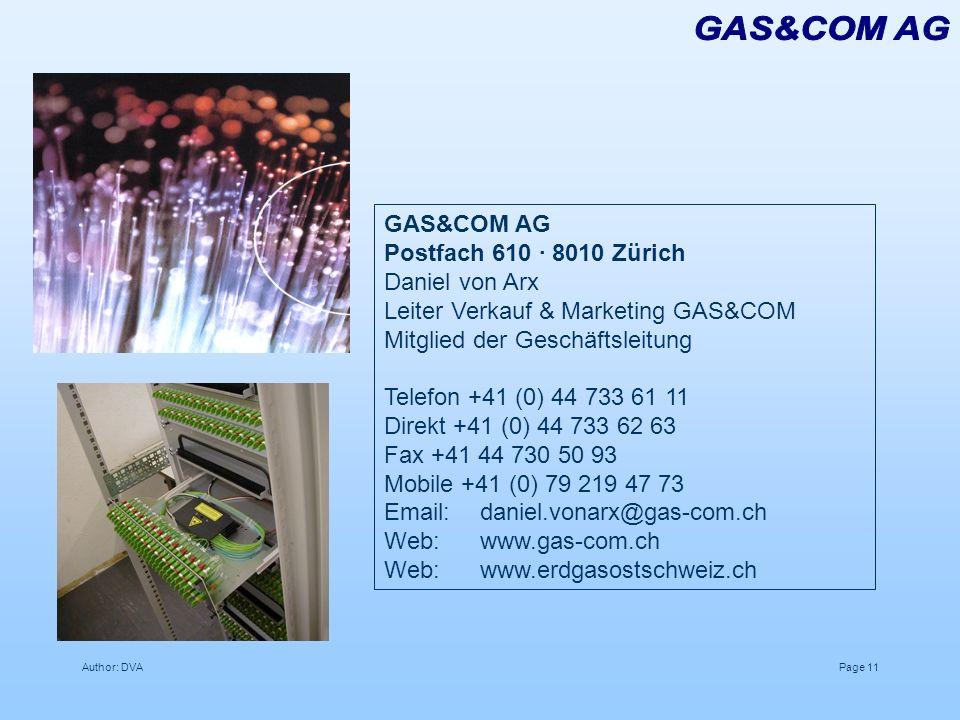 GAS&COM AG GAS&COM AG Postfach 610 · 8010 Zürich Daniel von Arx