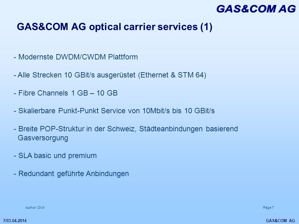 GAS&COM AG GAS&COM AG optical carrier services (1)