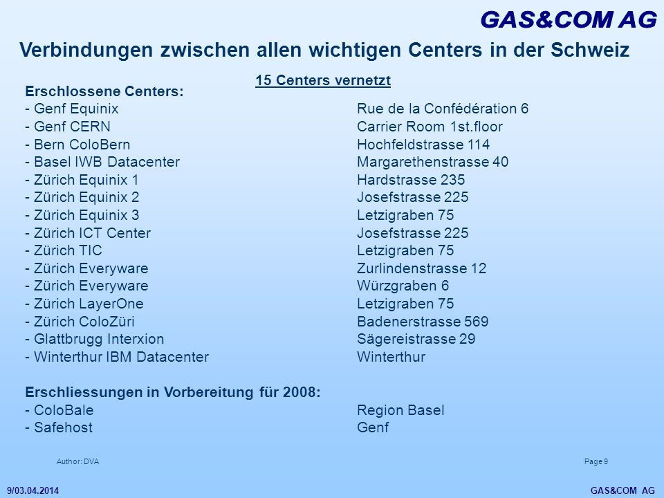 GAS&COM AG Verbindungen zwischen allen wichtigen Centers in der Schweiz. 15 Centers vernetzt. Erschlossene Centers: