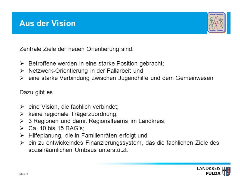 Aus der Vision Zentrale Ziele der neuen Orientierung sind: