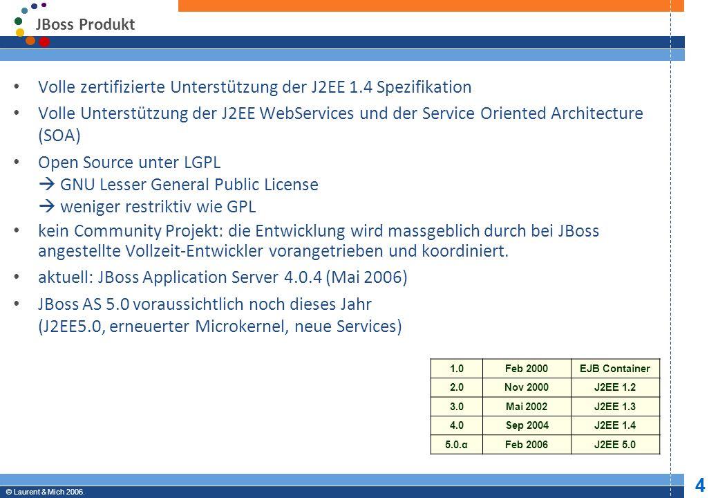 Volle zertifizierte Unterstützung der J2EE 1.4 Spezifikation