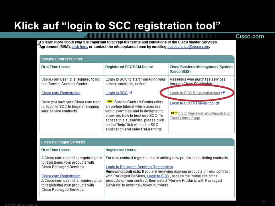 Klick auf login to SCC registration tool