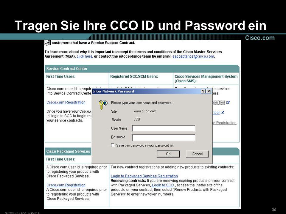 Tragen Sie Ihre CCO ID und Password ein