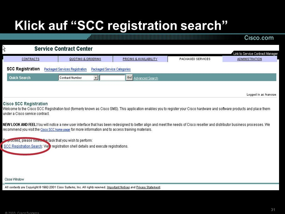 Klick auf SCC registration search
