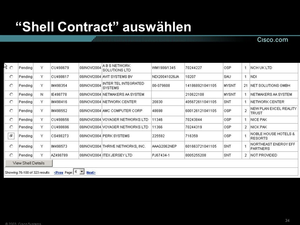 Shell Contract auswählen