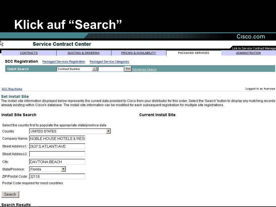 Klick auf Search