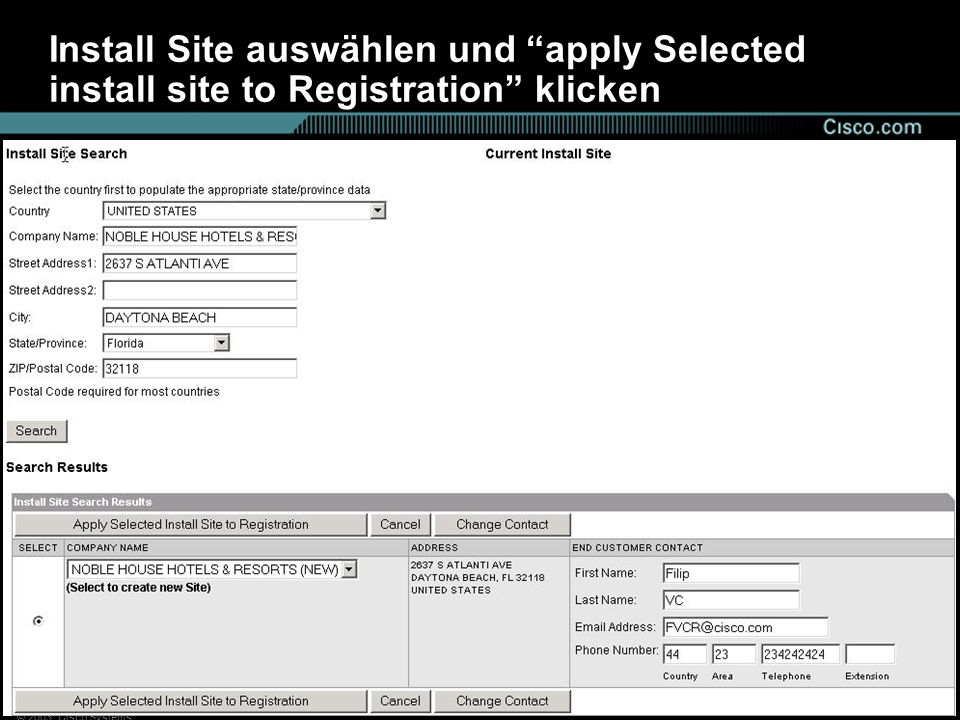 Install Site auswählen und apply Selected install site to Registration klicken