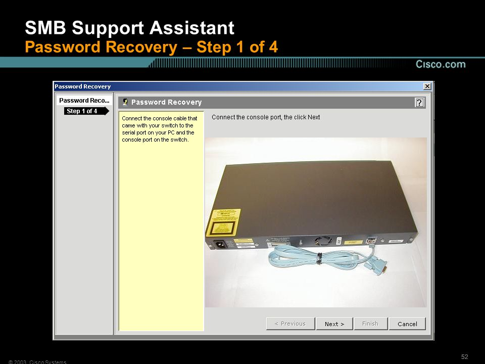SMB Support Assistant Password Recovery – Step 1 of 4
