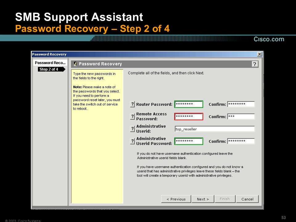 SMB Support Assistant Password Recovery – Step 2 of 4