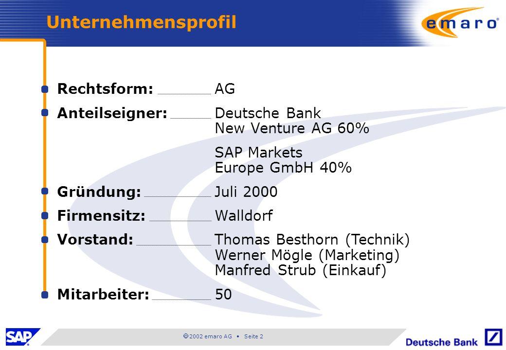 Unternehmensprofil Rechtsform: AG