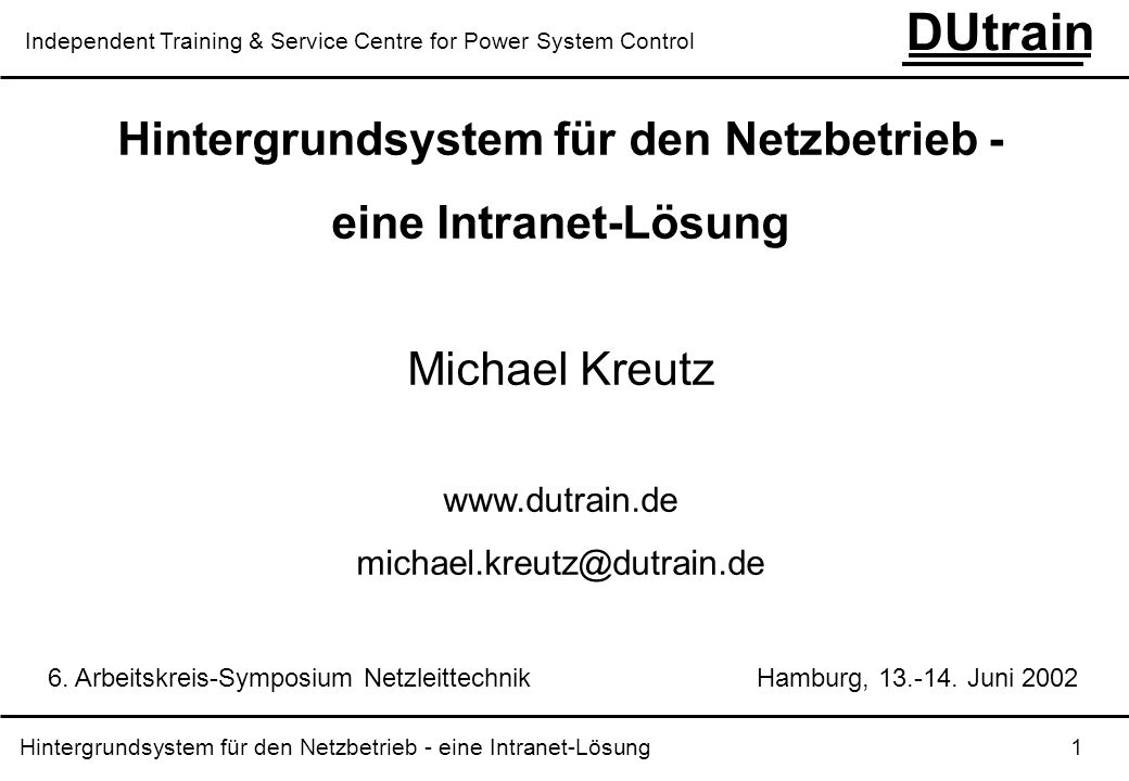 Hintergrundsystem für den Netzbetrieb -