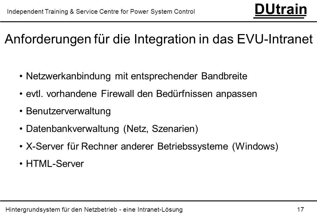 Anforderungen für die Integration in das EVU-Intranet