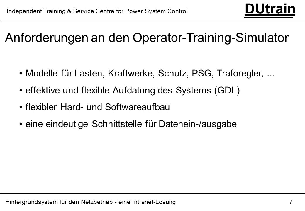 Anforderungen an den Operator-Training-Simulator