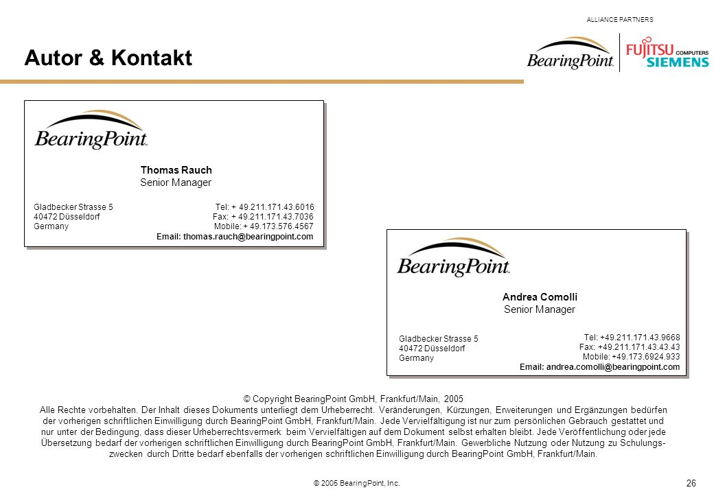 © Copyright BearingPoint GmbH, Frankfurt/Main, 2005