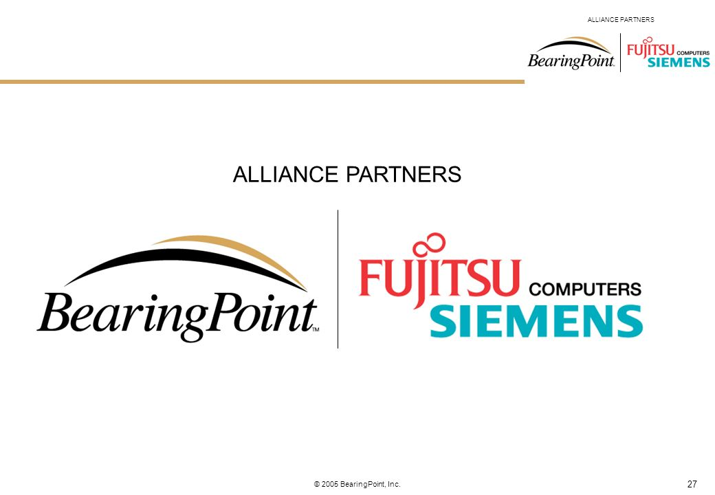 ALLIANCE PARTNERS © 2005 BearingPoint, Inc.
