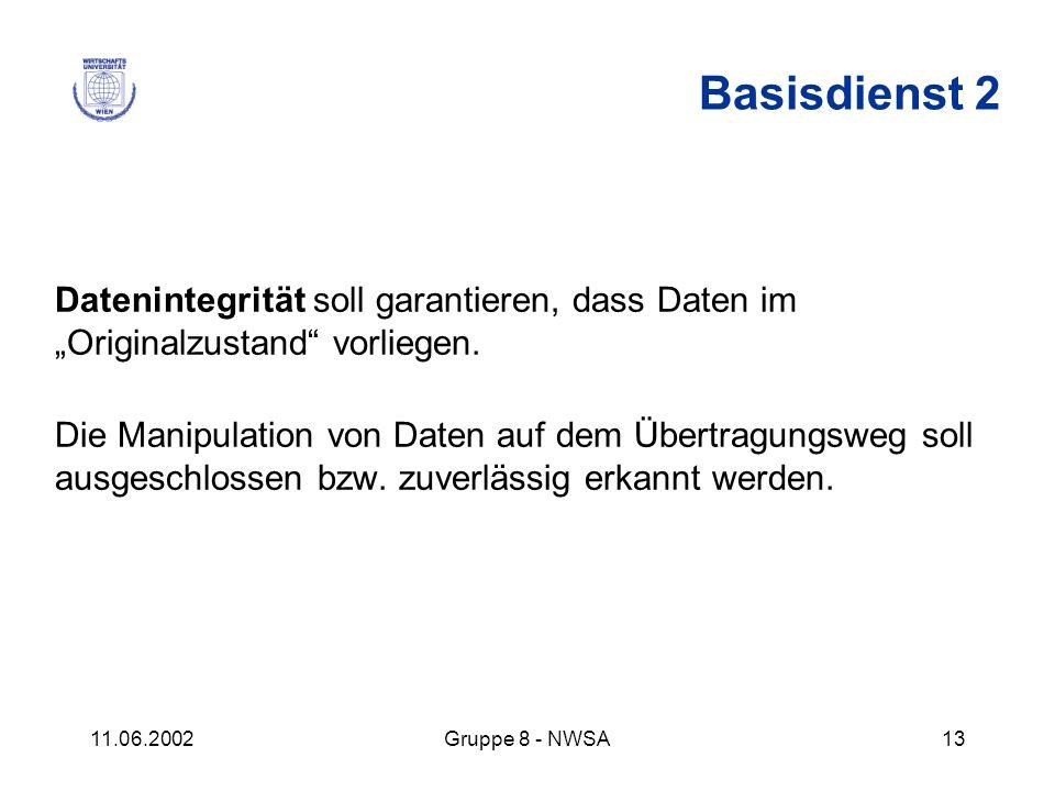 """Basisdienst 2 Datenintegrität soll garantieren, dass Daten im """"Originalzustand vorliegen."""