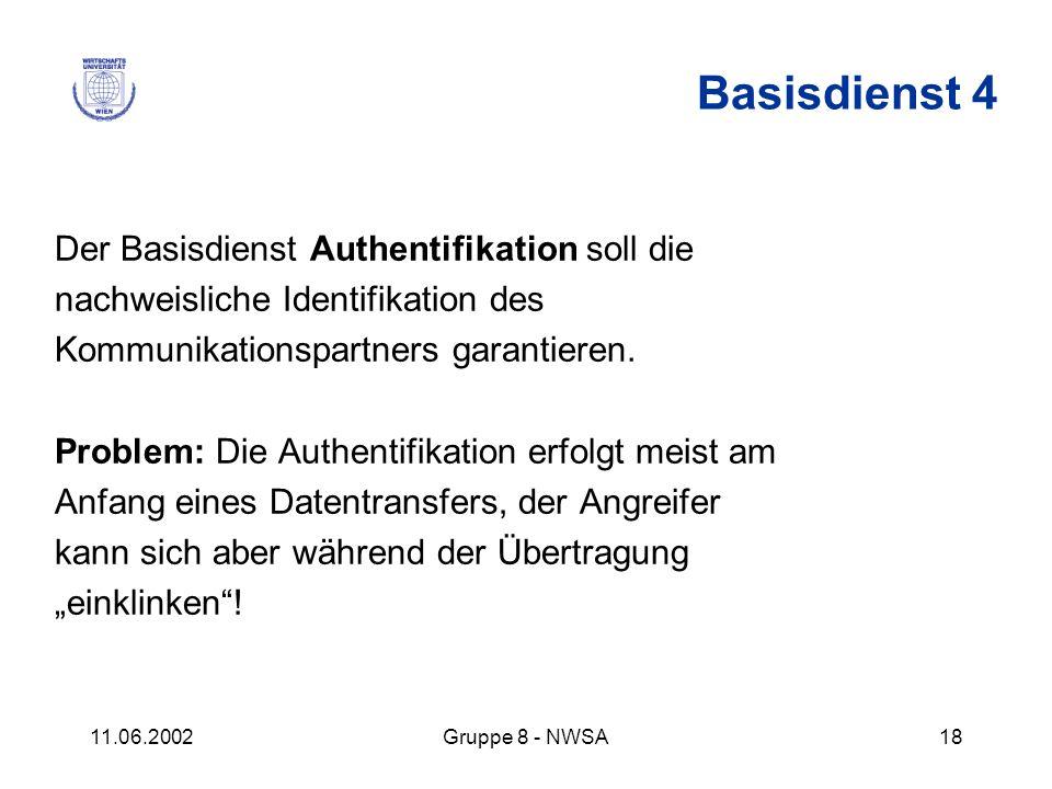 Basisdienst 4 Der Basisdienst Authentifikation soll die