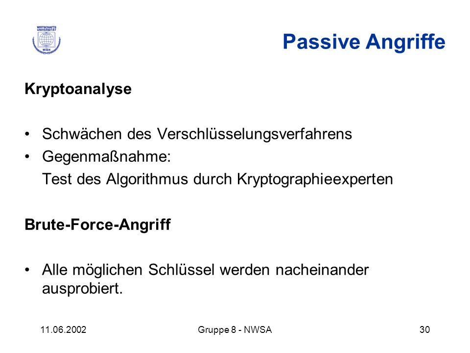 Passive Angriffe Kryptoanalyse