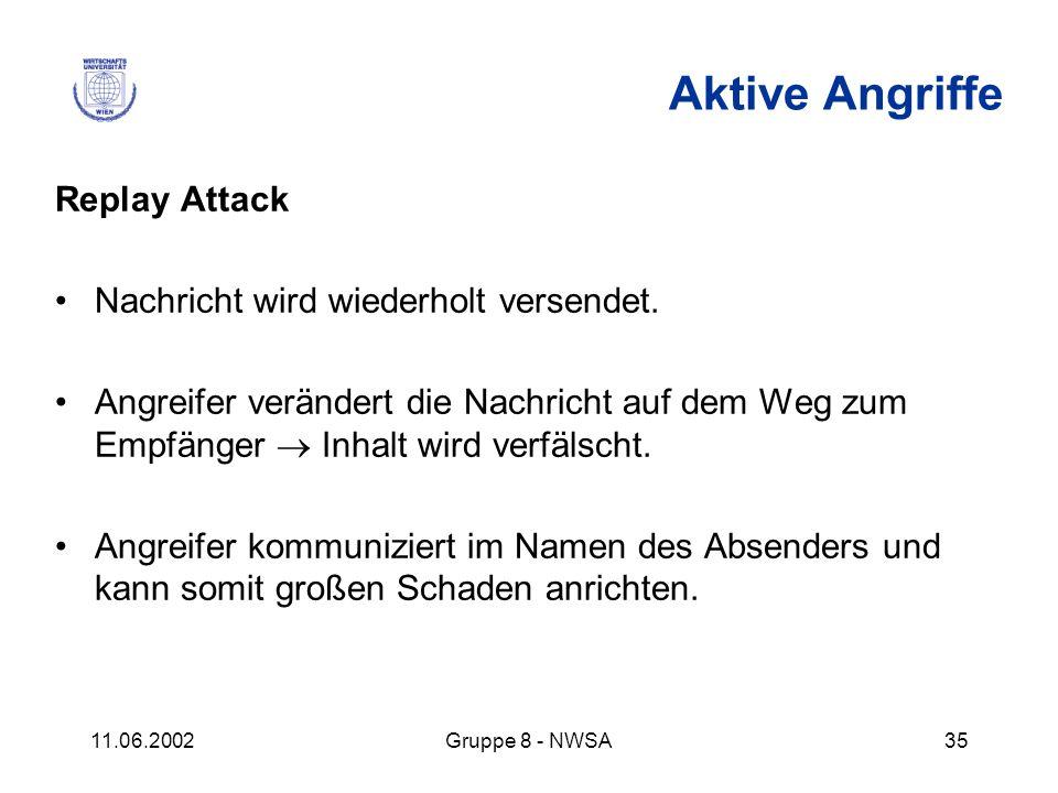 Aktive Angriffe Replay Attack Nachricht wird wiederholt versendet.