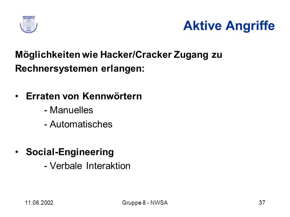 Aktive Angriffe Möglichkeiten wie Hacker/Cracker Zugang zu