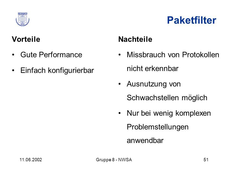 Paketfilter Vorteile Gute Performance Einfach konfigurierbar Nachteile