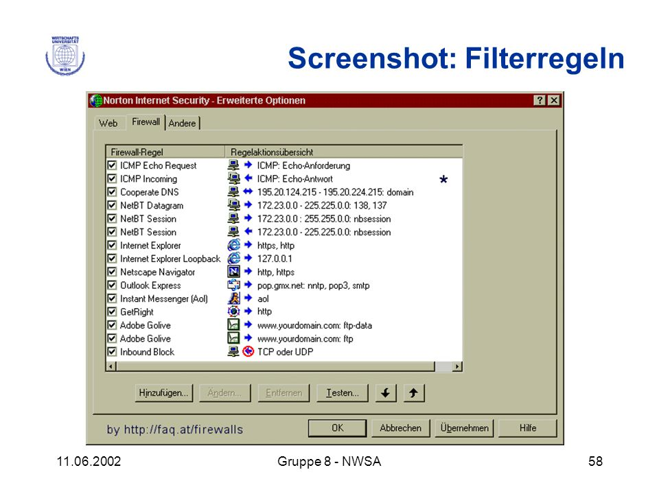 Screenshot: Filterregeln