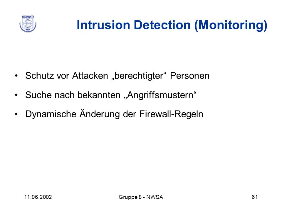 Intrusion Detection (Monitoring)