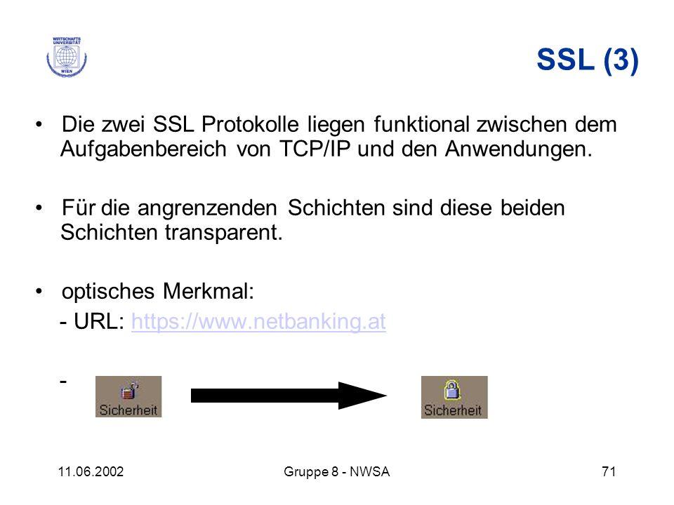 SSL (3) • Die zwei SSL Protokolle liegen funktional zwischen dem Aufgabenbereich von TCP/IP und den Anwendungen.