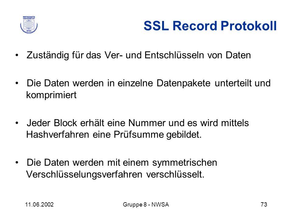 SSL Record Protokoll • Zuständig für das Ver- und Entschlüsseln von Daten. • Die Daten werden in einzelne Datenpakete unterteilt und komprimiert.