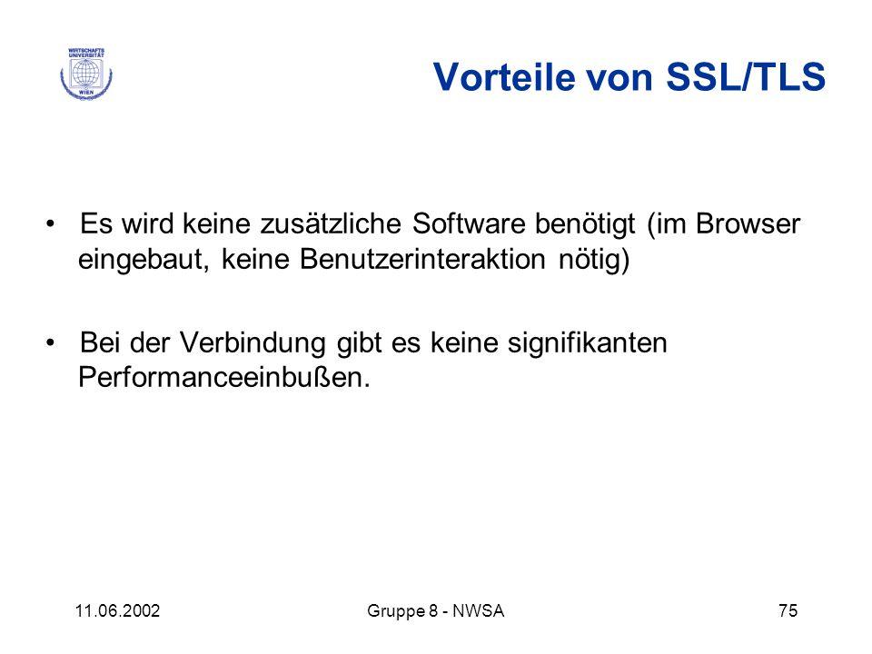 Vorteile von SSL/TLS • Es wird keine zusätzliche Software benötigt (im Browser eingebaut, keine Benutzerinteraktion nötig)