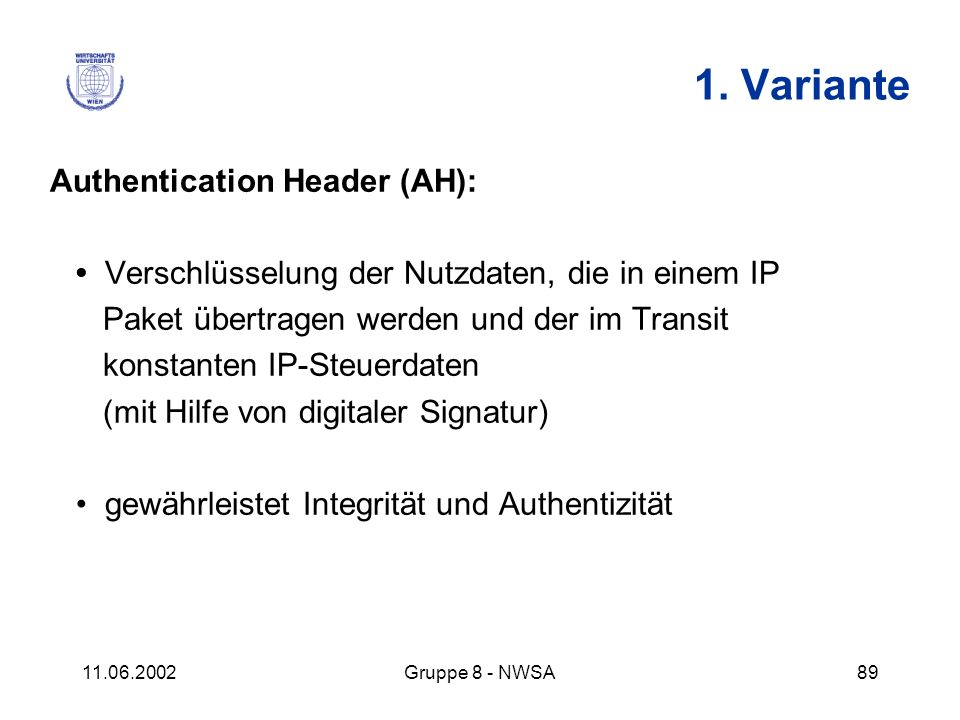 1. Variante Authentication Header (AH):