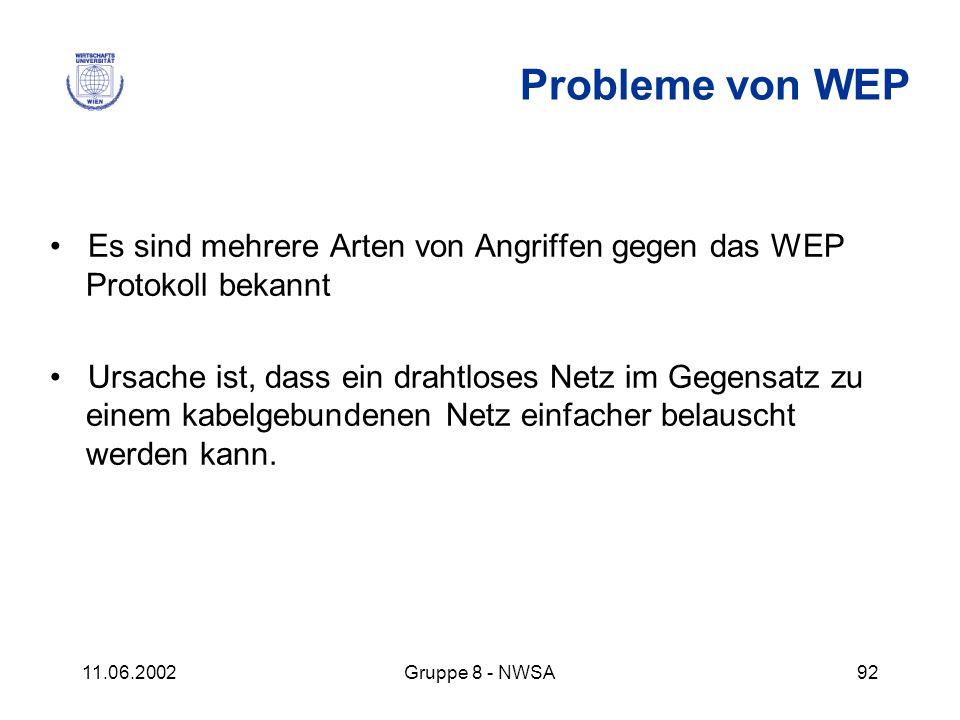 Probleme von WEP • Es sind mehrere Arten von Angriffen gegen das WEP Protokoll bekannt.