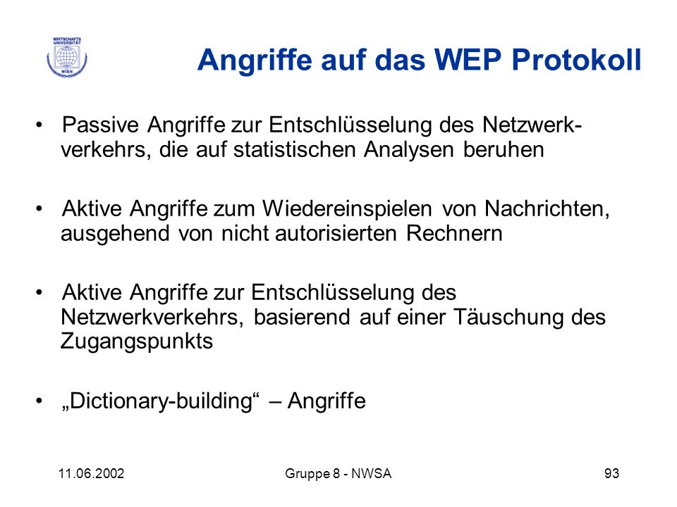 Angriffe auf das WEP Protokoll