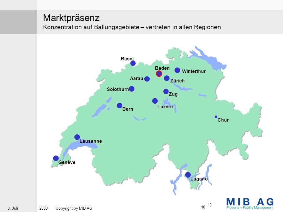 Marktpräsenz Konzentration auf Ballungsgebiete – vertreten in allen Regionen