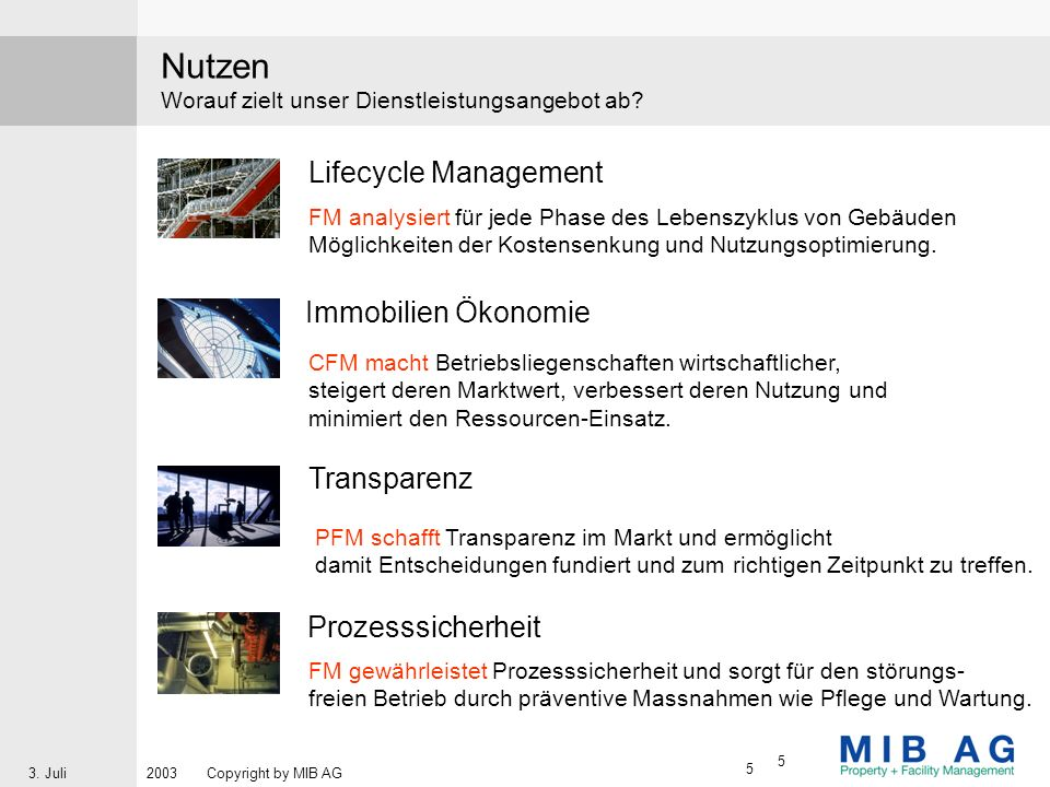 Nutzen Lifecycle Management Immobilien Ökonomie Transparenz