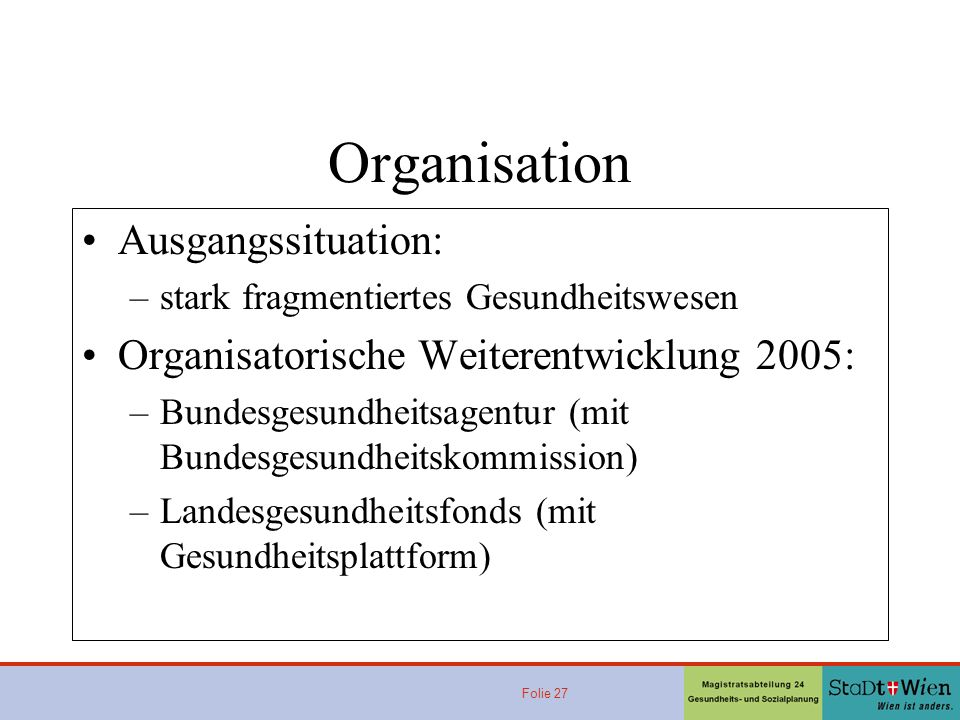 Organisation Ausgangssituation: