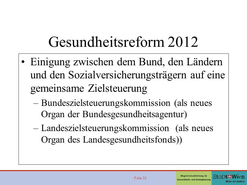Gesundheitsreform 2012 Einigung zwischen dem Bund, den Ländern und den Sozialversicherungsträgern auf eine gemeinsame Zielsteuerung.