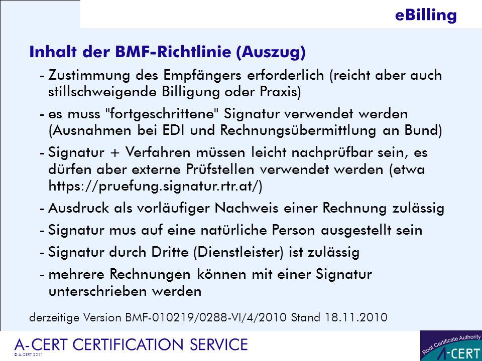 Inhalt der BMF-Richtlinie (Auszug)