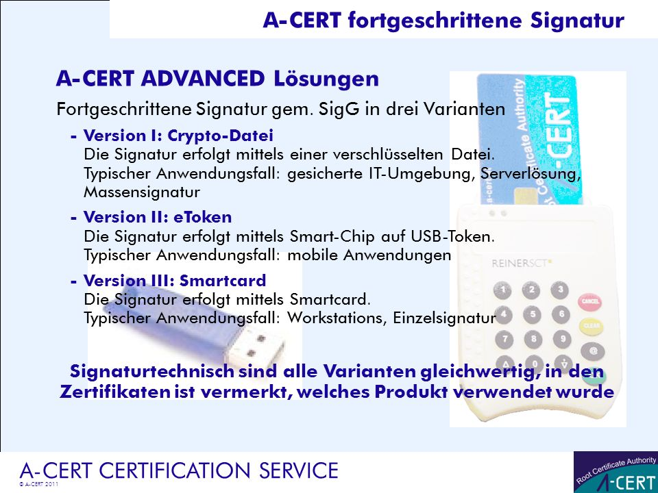 A-CERT fortgeschrittene Signatur