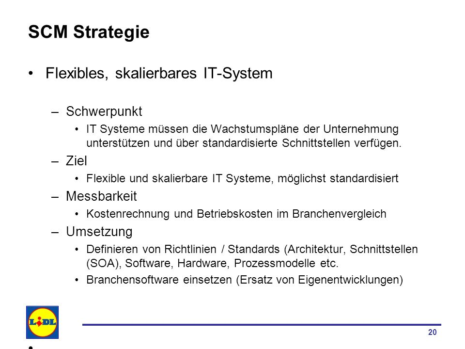 SCM Strategie Flexibles, skalierbares IT-System Schwerpunkt Ziel