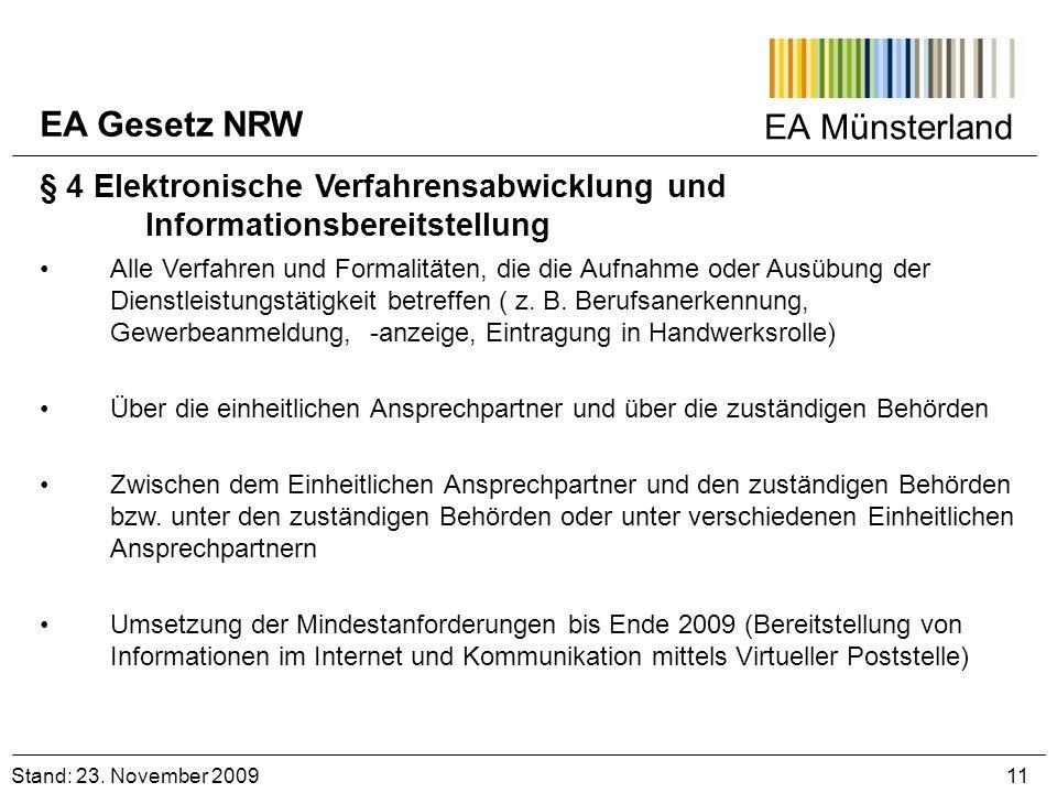 EA Gesetz NRW EA Münsterland