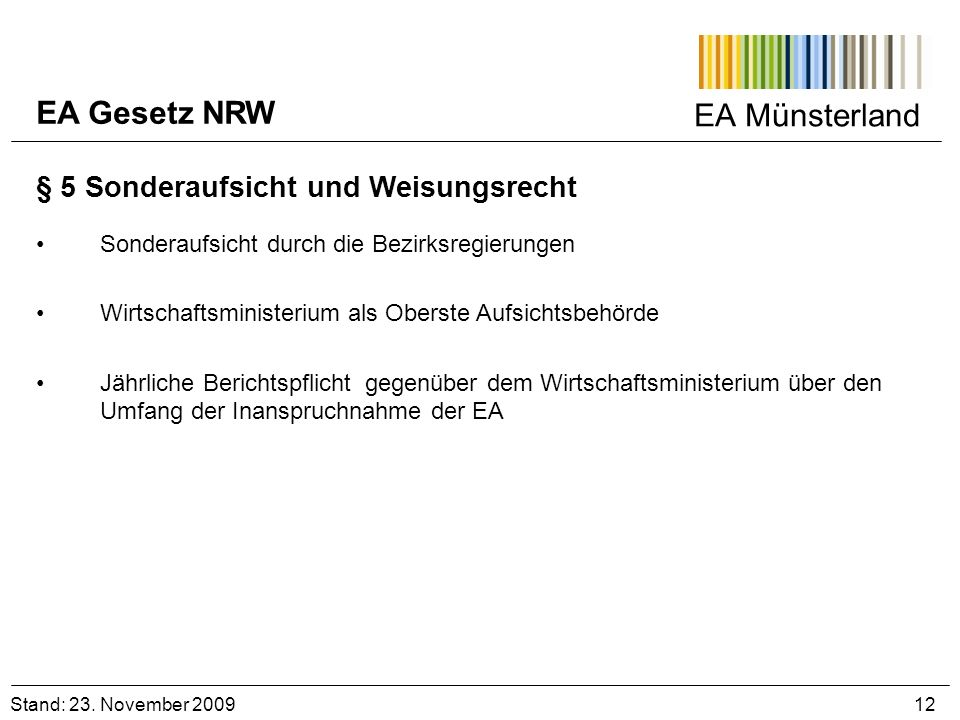 EA Gesetz NRW EA Münsterland § 5 Sonderaufsicht und Weisungsrecht