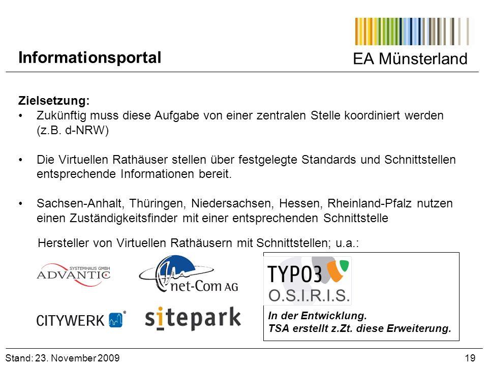 Informationsportal EA Münsterland O.S.I.R.I.S. Zielsetzung: