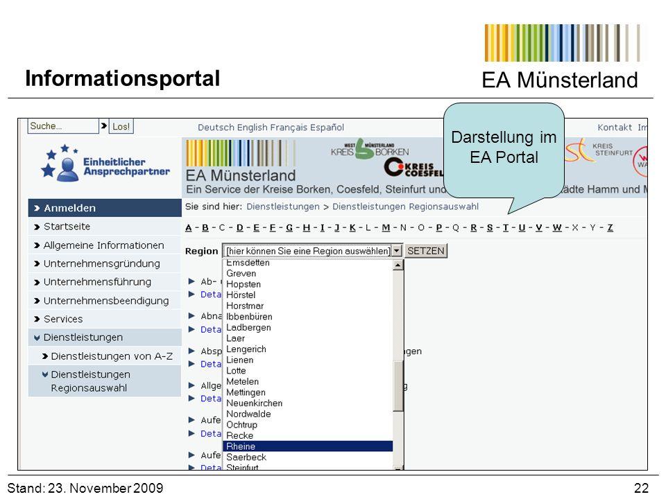 Darstellung im EA Portal