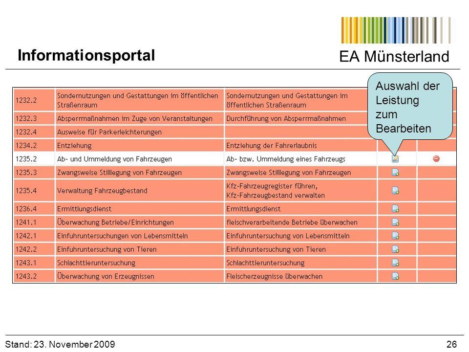 Informationsportal EA Münsterland Auswahl der Leistung zum Bearbeiten