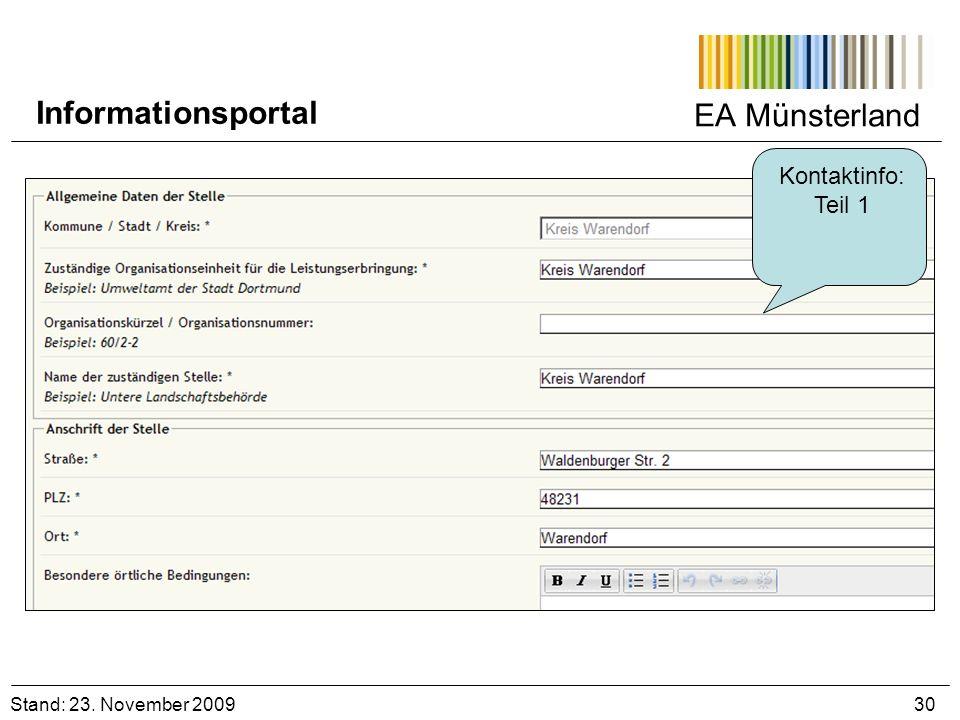Informationsportal EA Münsterland Kontaktinfo: Teil 1